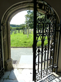 An open door at Cornwood Church